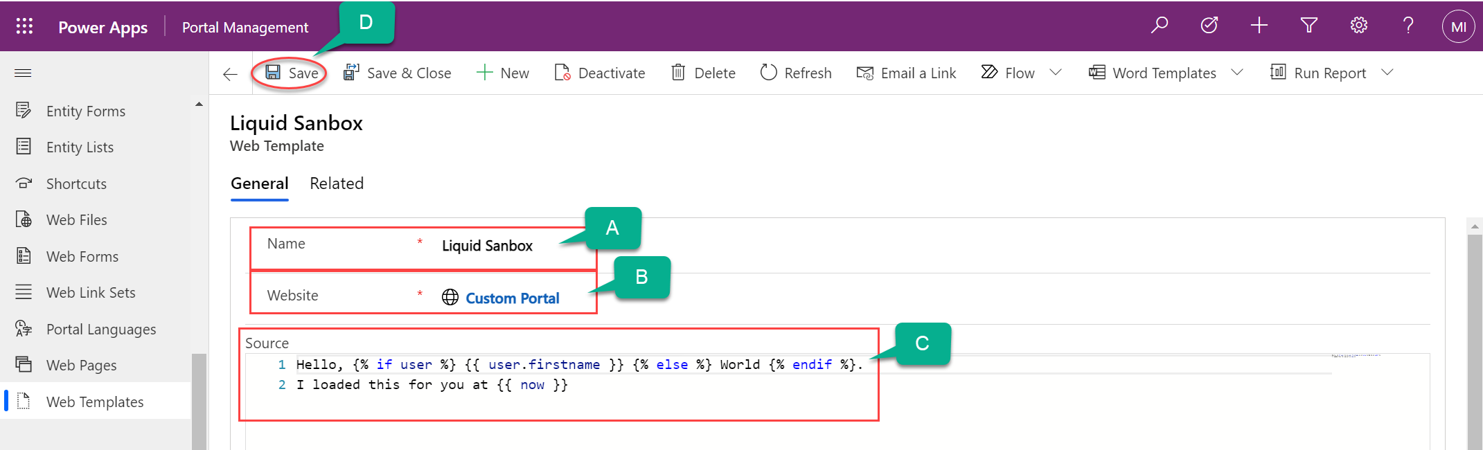 Screenshot creating a Web Template in the Portal Management app