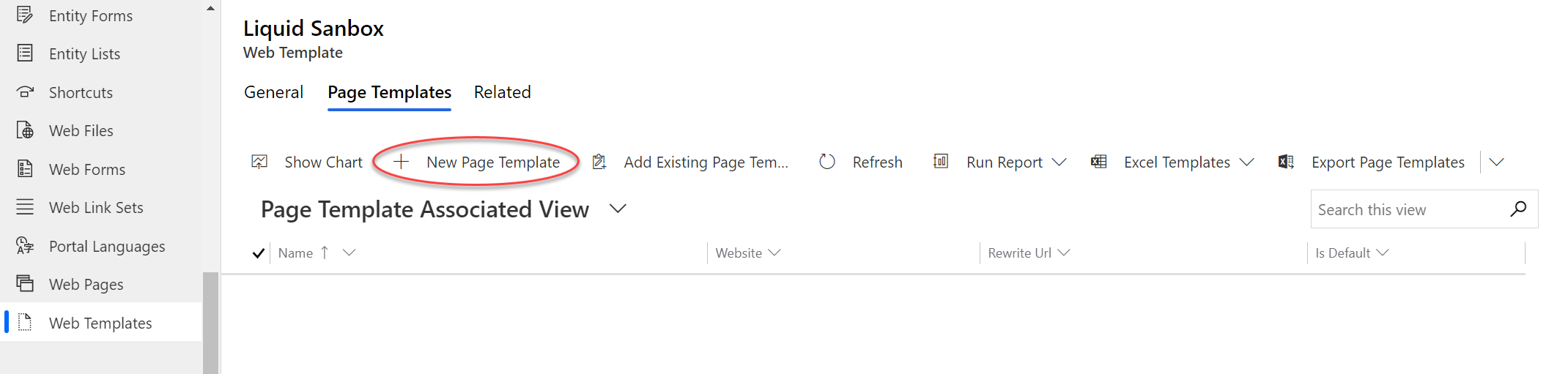 Screenshot showing New Page Template option from Web Template