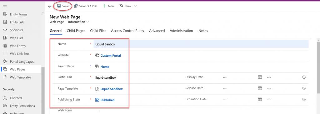 Screenshot showing Web Page creation options