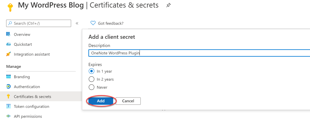 My WordPress Blog Certificates & secrets Add a client secret 80, -