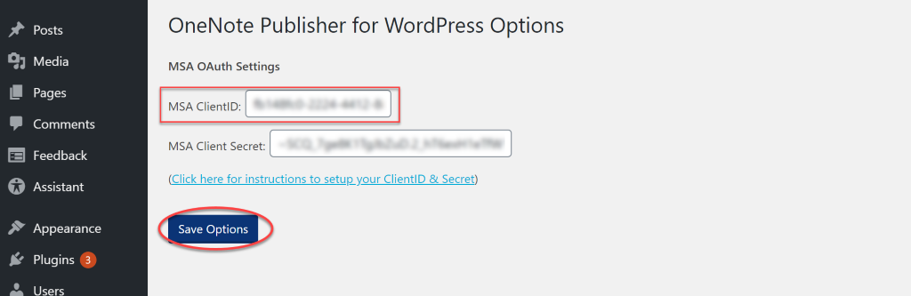OneNote publisher for WordPress Options